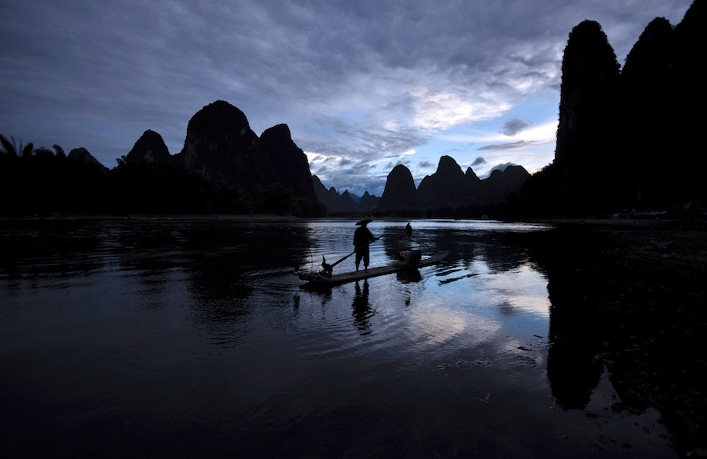 Picture of a Sunset blue sky landscape on the Li River Guilin