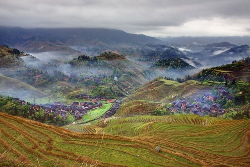 A Landscape of Longji Rice Terrace, Guilin, China.
