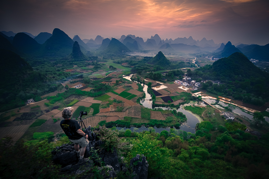 Picture of Photographer on a remote Guilin mountain