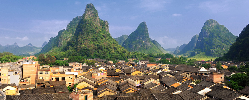 A picture of Huangyao Ancient Town from a roof